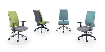 Elegant high back task chair with squared edges and slim profile available with a choice of mechanisms.