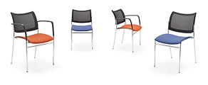 Contoured mesh back meeting chair