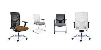 A fresh and innovative take on the task and side chair, available with either black or white polymer backrest.