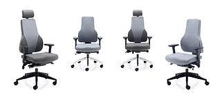 Synchro mechanism, seat slide and tilt, inflatable lumbar, 4D armrests and height adjustable backrest.