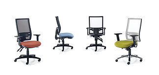 Stylish mesh task chair available in black or white mesh with a fixed lumbar support and choice of 5 mechanisms.