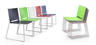 Stackable chrome skid frame chair available in a vibrant range of colour options.