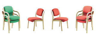 Classic wooden stacking and reception chairs.