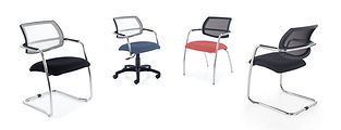 Elegant stackable meeting and conference chairs with mesh back detail, also available with a swivel base.
