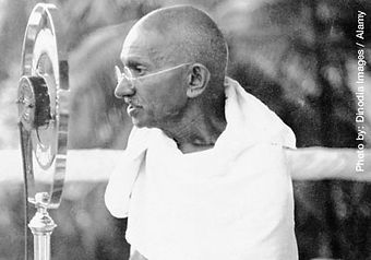 Gandhi speaking