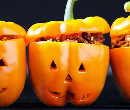Jack-o'-Lantern Stuffed Peppers