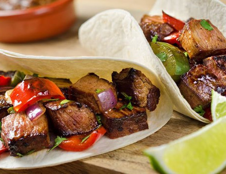 Steak, Red Pepper and Onions Tacos