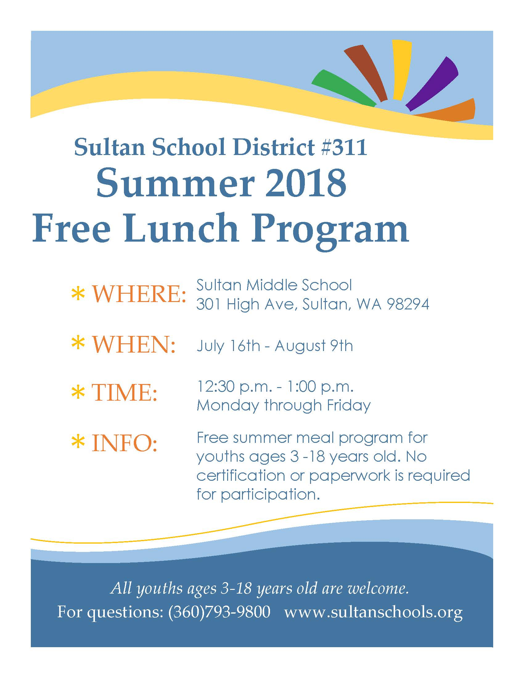 summer 2018 free lunch program sultan school city united states