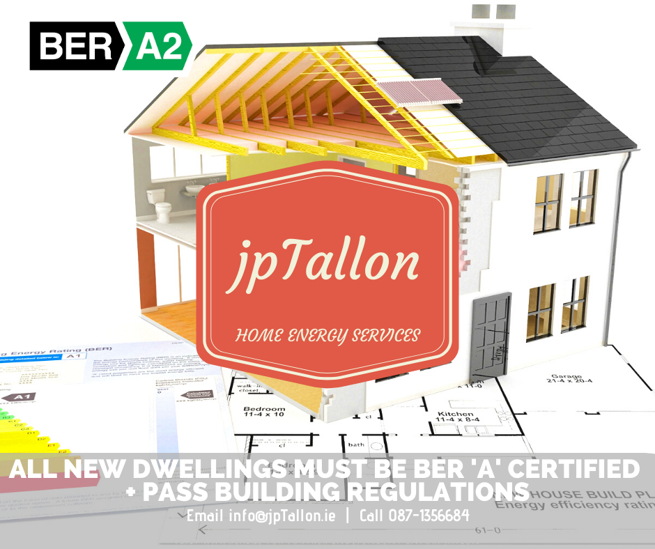 NEW DWELLINGS MUST BE DESIGNED & CONSTRUCTED TO BE BER 'A' CERTIFIED AND COMPLY WITH IRISH B-REGS.