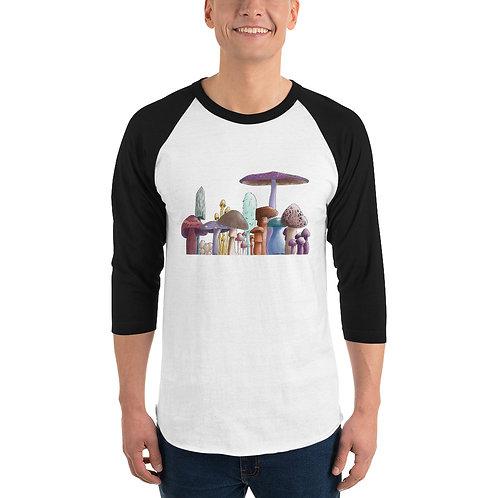 Unisex 3/4 Sleeve Baseball T-Shirt - Mushrooms