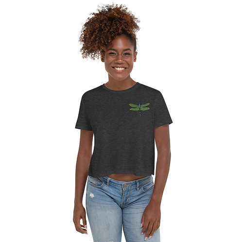Embroidered Crop Tee - Dotted Dragonfly