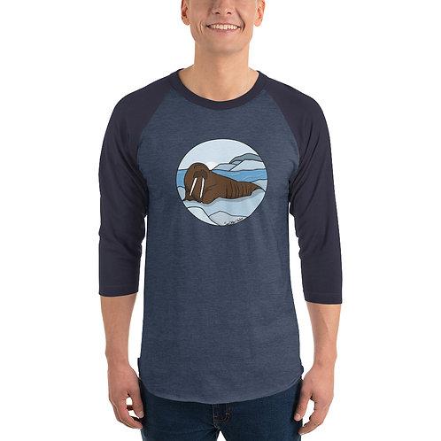 Unisex 3/4 Sleeve Baseball T-Shirt - Walrus