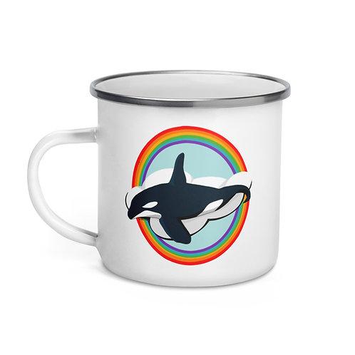 Enamel Mug - Rainbow Orca
