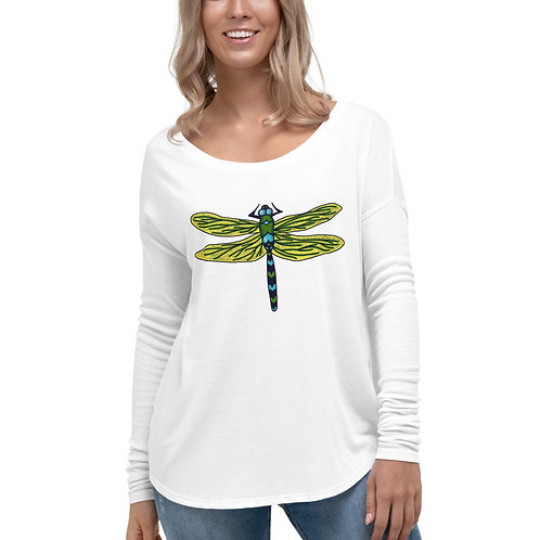 Women's Long Sleeve Tee - Dotted Dragonfly