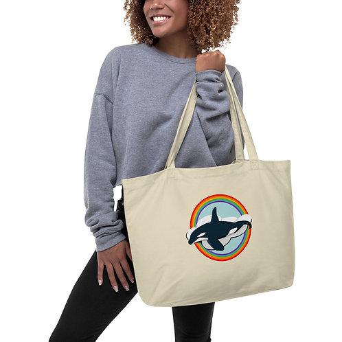 Large Tote Bag - Rainbow Orca