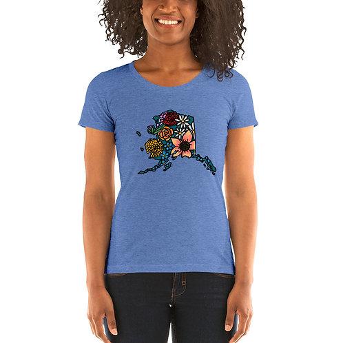 Women's Tri-Blend Short Sleeve T-Shirt - Flowered Alaska