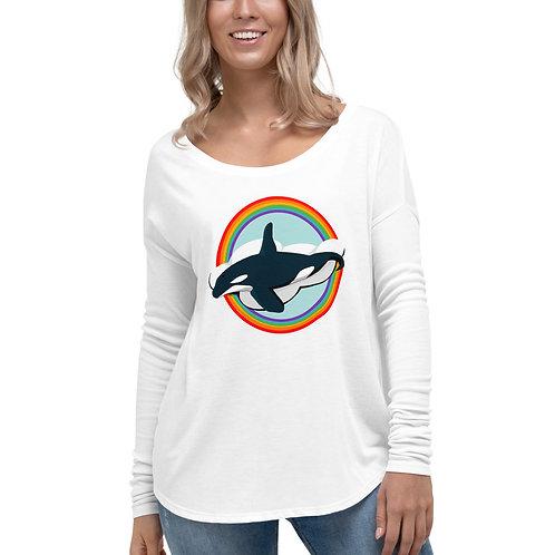 Women's Long Sleeve Tee - Rainbow Orca