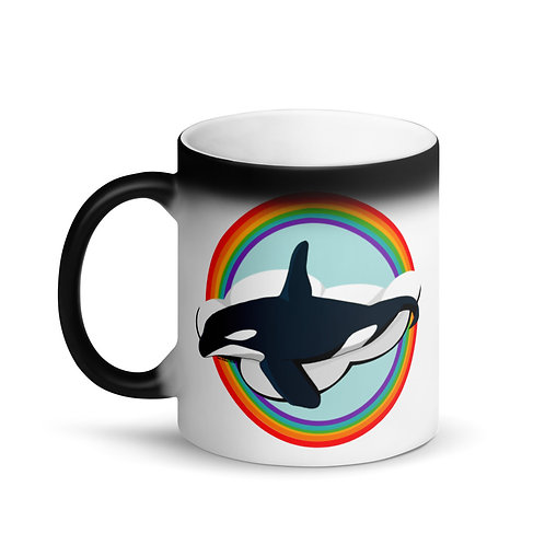 Matte Black Magic Mug - Rainbow Orca