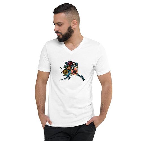 Unisex Short Sleeve V-Neck T-Shirt - Flowered Alaska