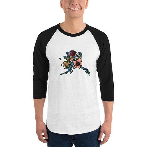 Unisex 3/4 Sleeve Baseball T-Shirt - Flowered Alaska