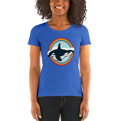Women's Tri-Blend Short Sleeve T-Shirt - Rainbow Orca
