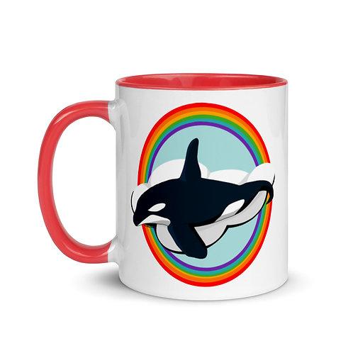 Mug with Color Inside - Rainbow Orca