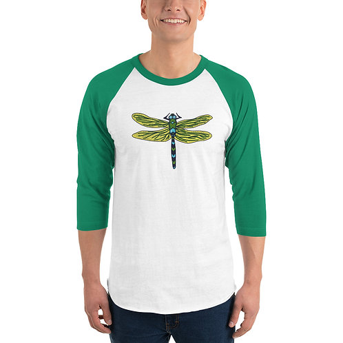 Unisex 3/4 Sleeve Baseball T-Shirt - Dotted Dragonfly