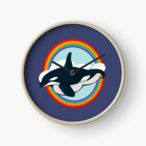 Clock - Rainbow Orca