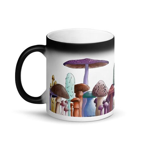 Matte Black Magic Mug - Mushrooms