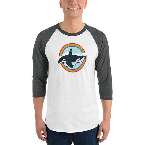 Unisex 3/4 Sleeve Baseball T-Shirt - Rainbow Orca