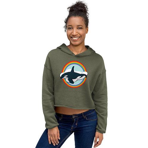 Crop Hoodie - Rainbow Orca