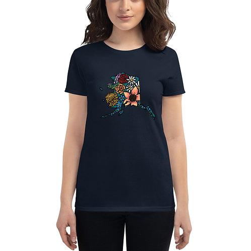 Women's Short Sleeve T-Shirt - Flowered Alaska
