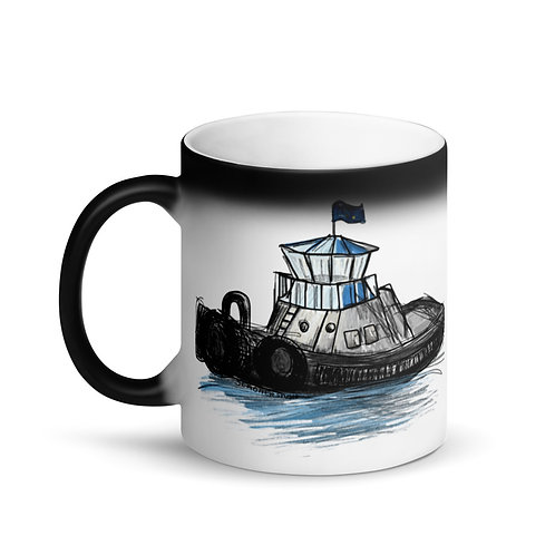 Matte Black Magic Mug - Tug Boat