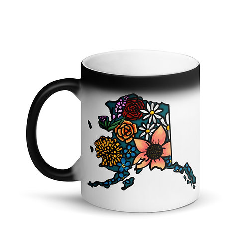 Matte Black Magic Mug - Flowered Alaska