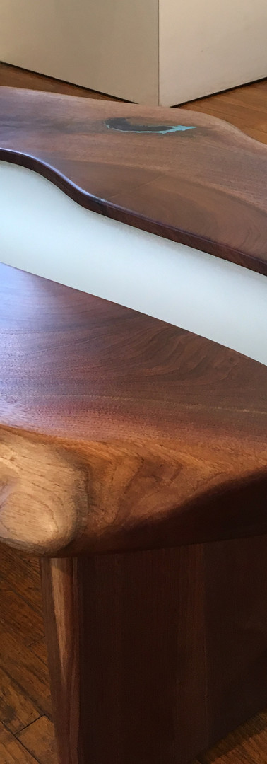 Live Edge Walnut with Frosted Glass Trou