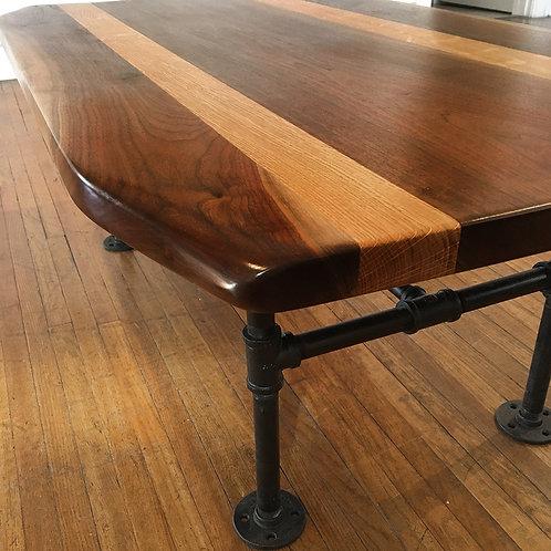 "Coffee Table- Walnut and Quartersawn Oak-""Loft Pipe"" Base"