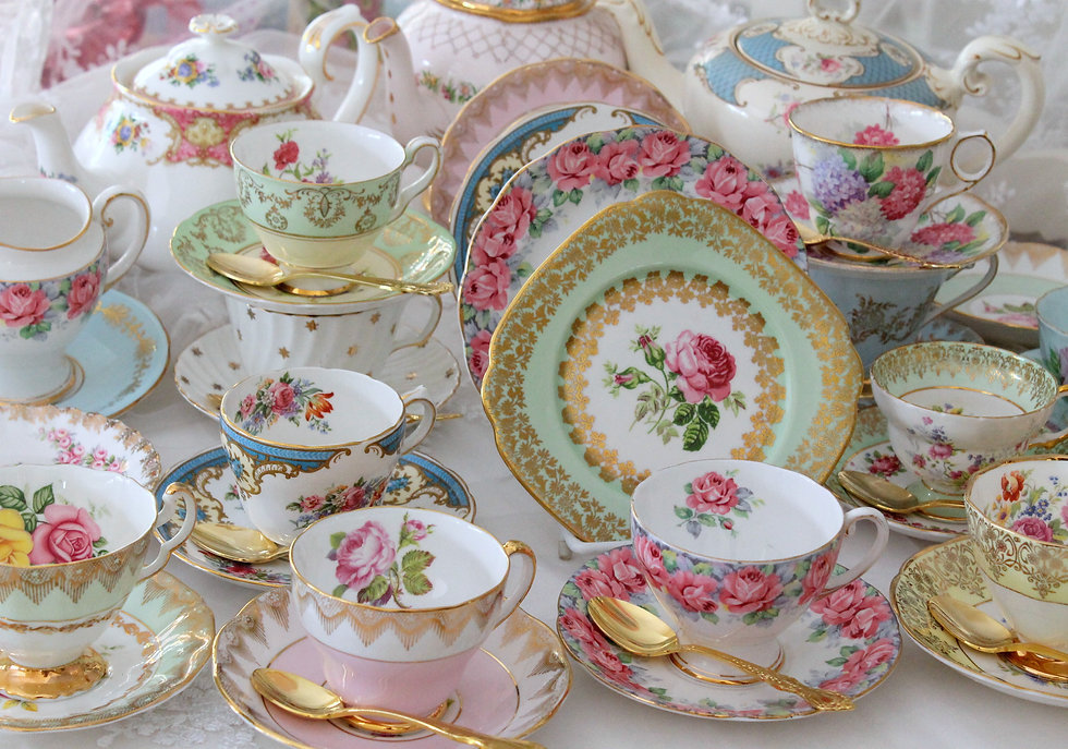 Vintage fine china tea cups and tea sets