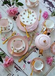 Overhead view flat lay vintage pink tea
