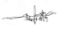 ink on paper composition 14 5x7in