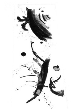 sumi ink on paper the black moon 12x6