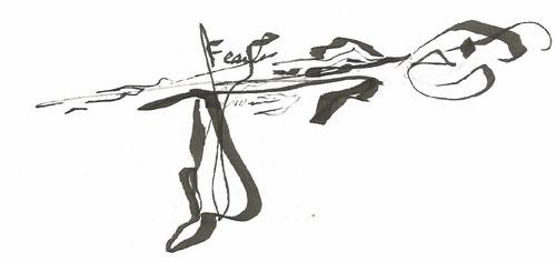 Fear inkl on paper 5x7in