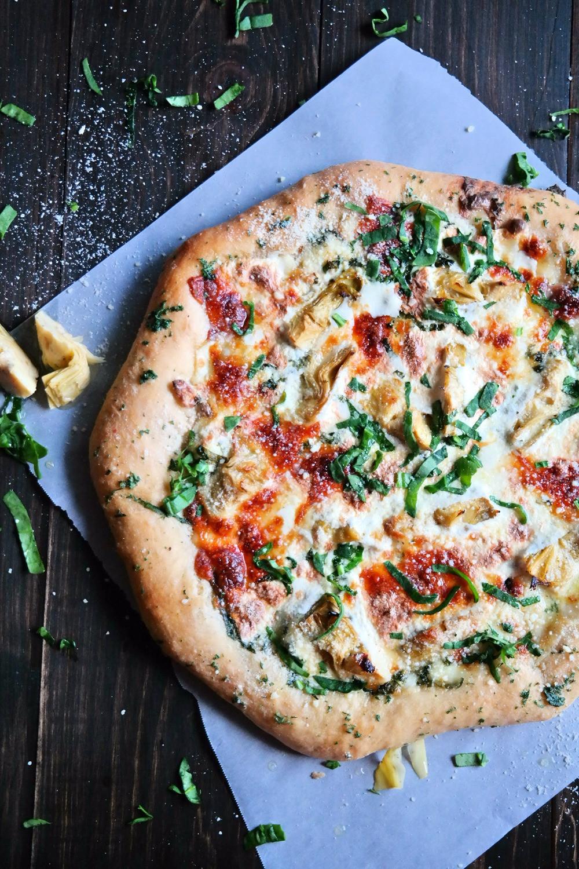 Alyssa's Spinach Artichoke Dip, Stuffed Crust Pizza   eatlovegarlic.com @eatlovegarlic