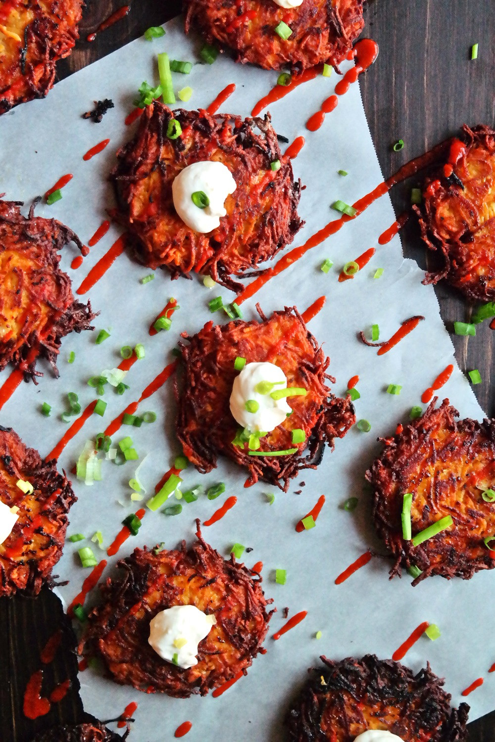 Sweet Potato & Parsnip Latkes with a Parmesan Goat Cheese Dollop | eatlovegarlic.com @eatlovegarlic