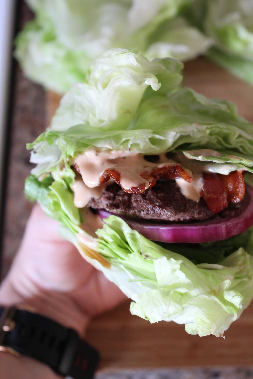 Bacon Burger Lettuce Wrap | eatlovegarlic.com