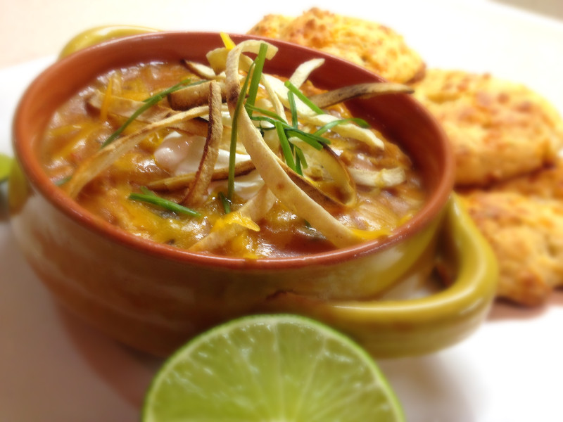 Chicken Tortilla Soup with Easy Cheesy Garlic Biscuits