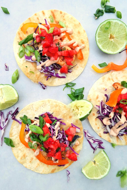 Squirrel Tacos with Strawberry Jalapeno Salsa and Garlic Chipotle Cream | eatlovegarlic.com @eatlovegarlic
