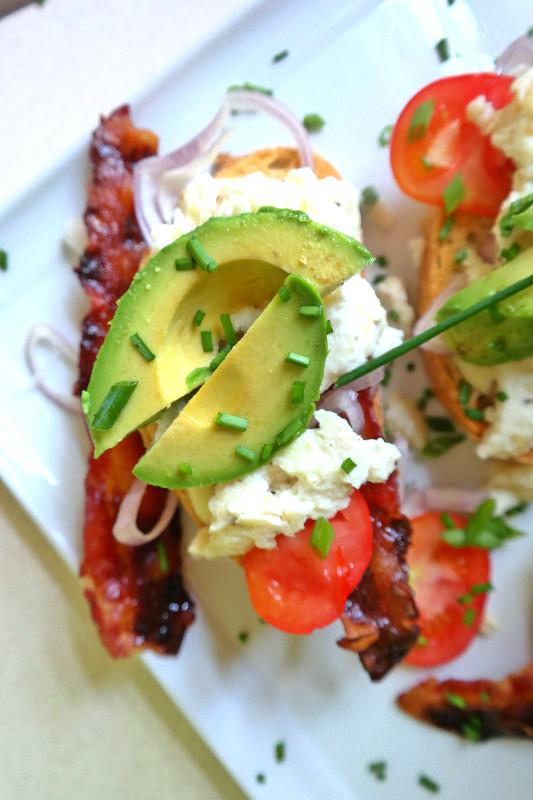 Open Faced Avocado Breakfast Sandwich with Candied Bacon | eatlovegarlic.com @eatlovegarlic