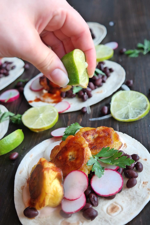 Crispy Plantain Tacos with Chipotle Crema | eatlovegarlic.com @eatlovegarlic