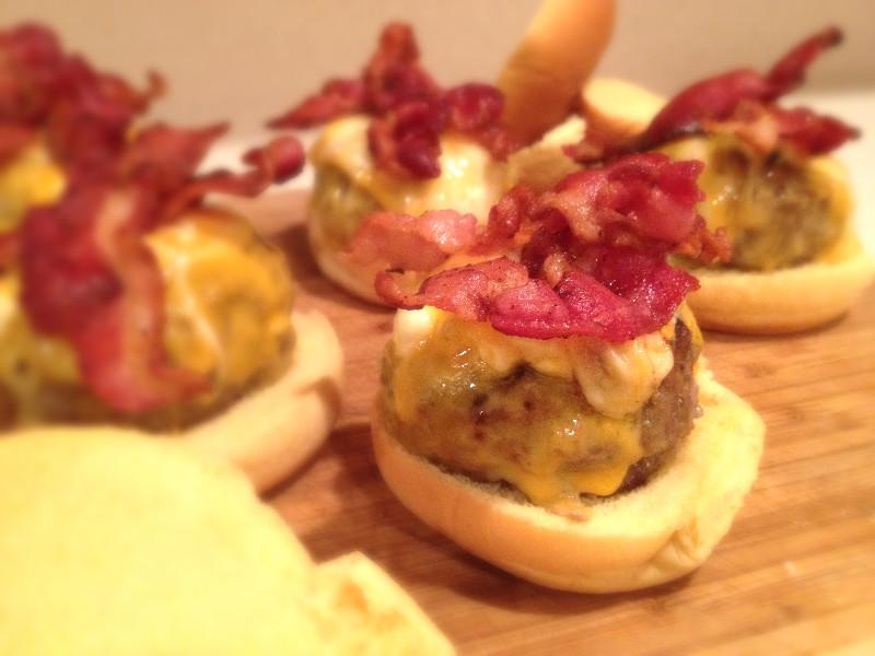 Gorgonzola Stuffed Bacon Sliders
