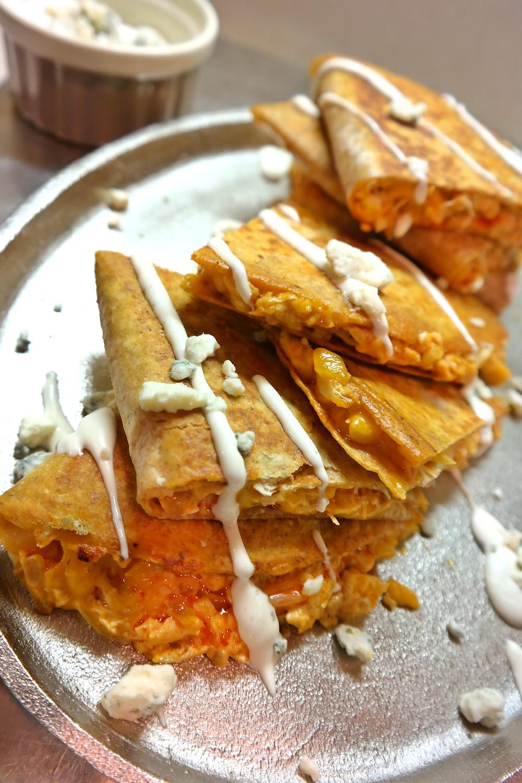 Hot Blue Chicken Quesadillas | eatlovegarlic @eatlovegarlic